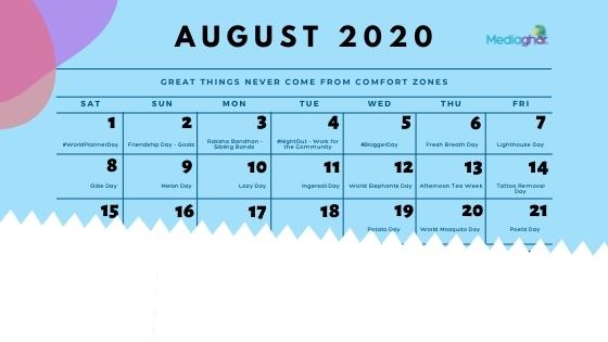 A sample Social Media Calendar which can boost your social media marketing